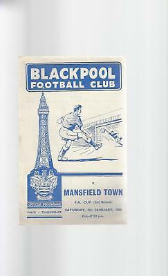 Blackpool v Mansfield Town FA Cup Football Programme 1959/60
