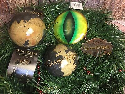 Set Of 4 Game Of Thrones Christmas Tree Holiday Ornaments HBO Kurt Adler