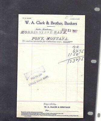 1907 Morris State Bank Pony Montana W.a.clark & Brother Bankers Butte Collection
