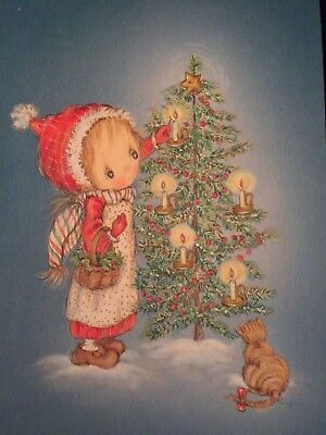 1 Unused Vintage Betsey Clark Embossed Christmas Card Girl Tree Kitty Cat