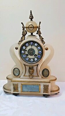 Antique French Alabaster Gilt Metal and Marble mantel clock