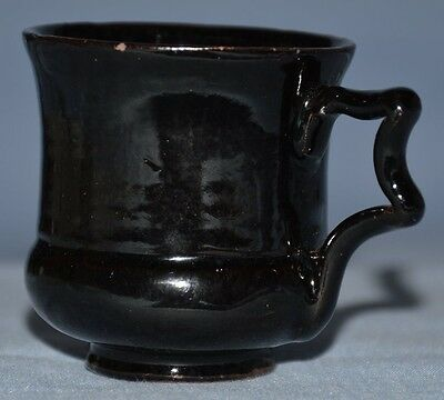 Miniature Black Glazed Victorian American Redware Jug 2.2 Inches Tall Antique