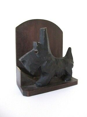 Antique black forest carving of Scotty dog with glass eyes calendar card holder