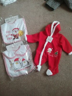 Bnwt Babies Christmas Day Party  Bibs And Baby Grow 3 to 6  months  Bundle