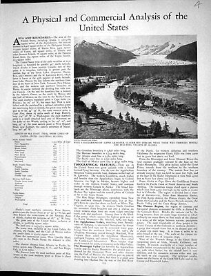 Original Old Vintage Print Collier Mountains America Valeys Alaska 1936 20th
