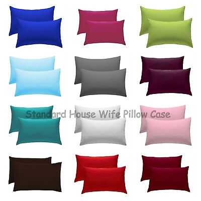 Luxury Plain Dyed 68 Pick PolyCotton Housewife Pillow Case Cases Pair Pack 50X75
