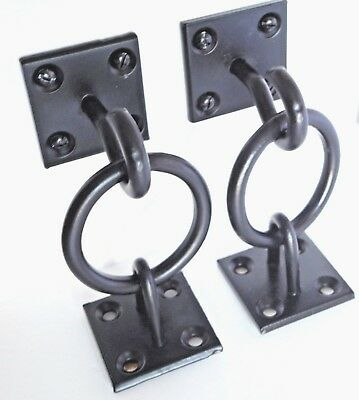 Rustic Shelf Brackets Unique x 2 Floating Wall Hanging Hook on Ring Plate Black