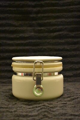 """Vintage BEE HOUSE White Ceramic CANISTER JAPAN Metal Latch 4 1/4"""""""