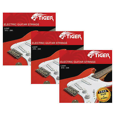 Tiger Electric Guitar Strings - Pack of 3 Light (10 - 46) Sets