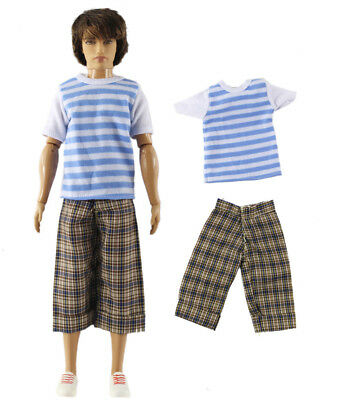 Dll clothing/Outfit/Tops+Pants For Barbie's BF Ken Doll Clothes B48
