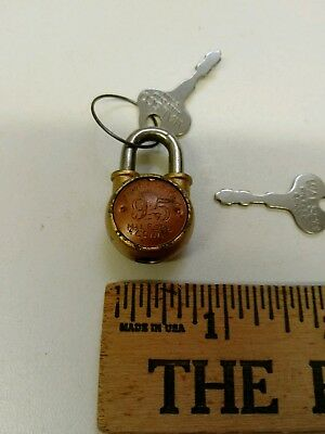 "Vintage Milford Connecticut Walsco 95 Small 3/4"" Padlock Lock 2 Keys Works"