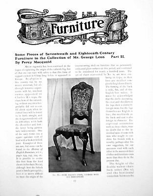 Antique Old Print C17Th & C 18th Furniture Collection George LeonPages 1917