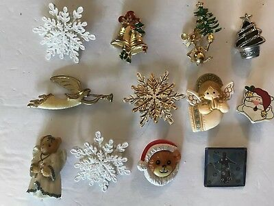 Vintage To Now Christmas Holiday Brooch Pin Lot of 12 Brooches Angels