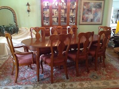 Lexington Rustic Country French Dining Table + Table Pads + 8 Chairs