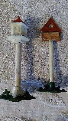 Vintage Lead Britain's Miniature Farm Bird House and Street Speed Limit Sign