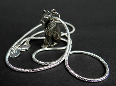 Egyptian Seated Bastet Cat Pewter Amulet Pendant with Chain