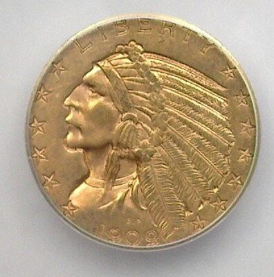 1909-D Indian Head $5 Gold Half Eagle  Icg Ms62