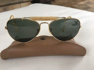 e931f3dd37 58  14mm VINTAGE B L RAY BAN GOLD PLATED OUTDOORSMAN AVIATOR SUNGLASSES  w CASE