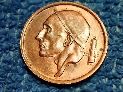 Belgium Scarce Bronze 20 Centimes 1954 (Flemish) Uncirculated!