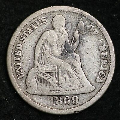 1869-S Seated Liberty Dime CHOICE FINE FREE SHIPPING E235 ANB