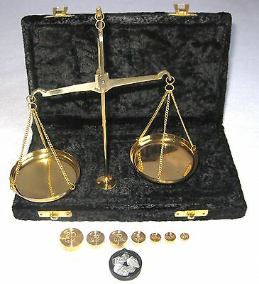 Antique Style 100 Gram Brass Scale with beautiful Velvet box. USA Seller!!