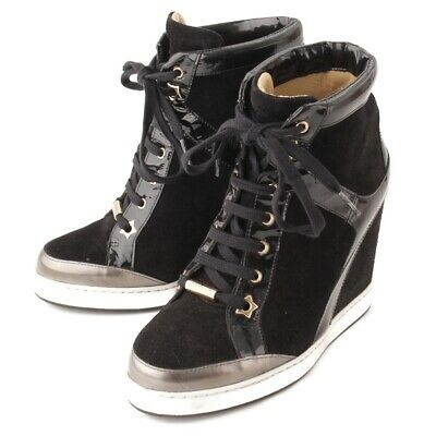 37e94457a4da Authentic Jimmy Choo Panama Suede Wedge High Top Sneakers Black 36 Gr B  Used -Hp
