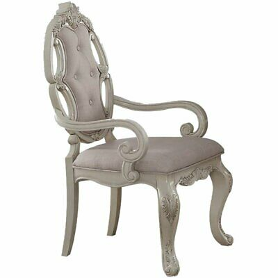 Groovy Acme Ragenardus Dining Arm Chair In Gray And Antique White Bralicious Painted Fabric Chair Ideas Braliciousco