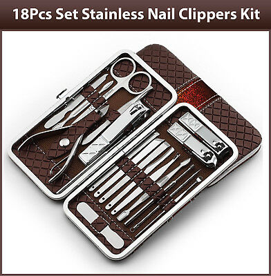 Nail Clippers Stainless Kit 18Pcs Cuticle Grooming Beauty Manicure Pedicure Set
