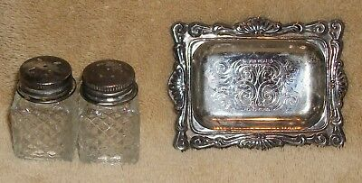 Vintage Individual Salt And Pepper Shaker Set With Silverplate Tray