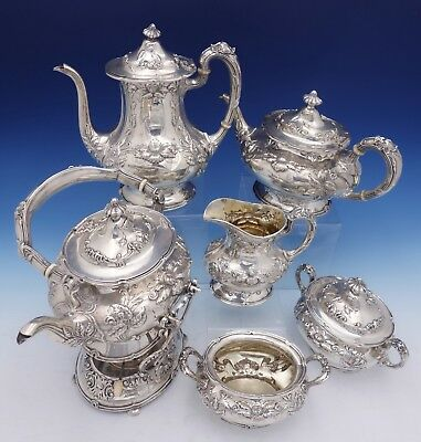 Imperial Chrysanthemum by Gorham Sterling Silver Tea Set 6pc (#3106) Antique