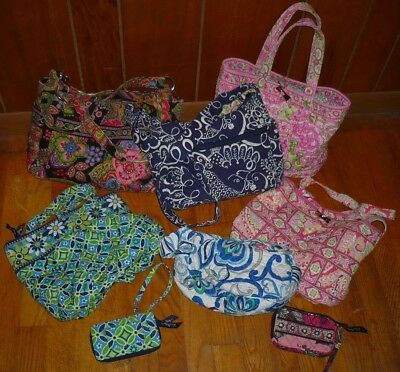 Lot of 8 Vera Bradley Wristlet Toiletry Bag Totes in Various Patterns