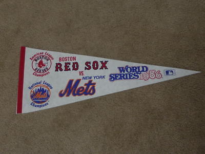 1986 New York Mets Boston Red Sox World Series Pennant Full Size