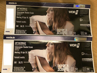 """Amy MacDonald 2 Tickets Essen Colosseum Theater 01.04.2019""""Woman of the World"""""""