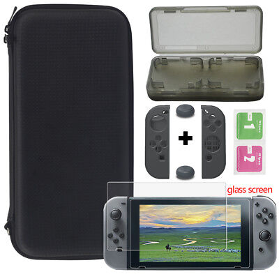 For Nintendo Switch Travel Carry Case Bag+Glass Film+Controller Cover +Card Box