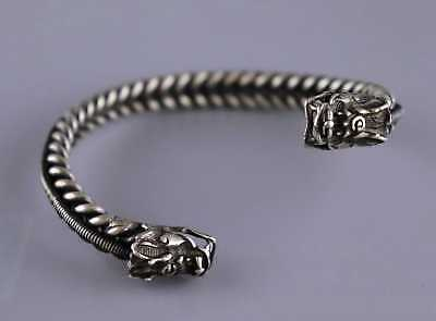 Collectable Chinese Tibet Silver Hand Carve Myth Dragon Exorcism Amulet Bracelet