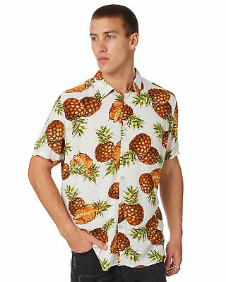 New Barney Cools Men's Holiday Mens Ss Shirt Rayon White Pineapple