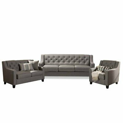 3 Piece Sofa Set with Sofa, Loveseat, and Accent Chair in Gray