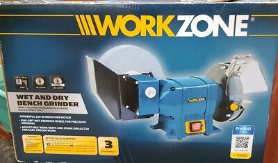 Workzone Wet & Dry Bench Grinder - Powerful Induction Motor 250W - 3Yr Warranty
