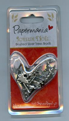 Papermania Brushed Silver Trees Brads