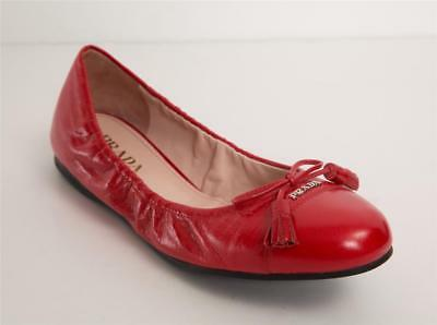 c4aaf48df4 PRADA Womens Red Cracked Leather Round Cap Toe Bow Tassel Ballet Flats  10-40 NEW