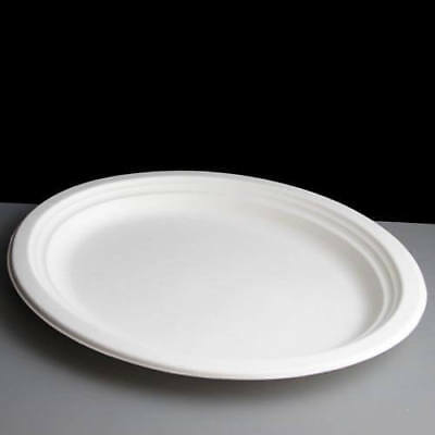 Eco Friendly Biodegradable Bagasse Sugarcane 7'' White Paper Plates Compostable