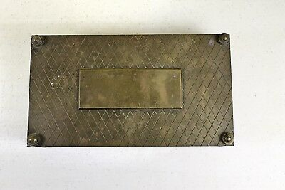 Vintage Heavy Footed Brass Box 3 Compartment