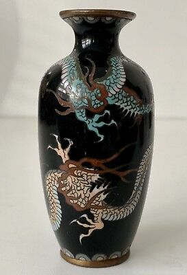 A Fine Antique Japanese Cloisonne Vase decorated with two dragons . Meiji Era