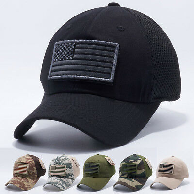 USA American Flag hat Detachable Baseball Mesh Tactical Military Army cap US