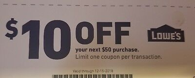 LOWES Coupon $10 OFF your  $50 purchase. Exp. 15/12/2018