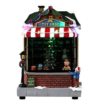 Christmas Lighted Animated Toy Shop Decoration Holiday Village House Train Music