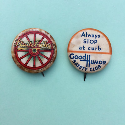 EARLY 1900's LOT of TWO CELLULOID PINBACK BUTTONS STUDEBAKER & GOOD HUMOR