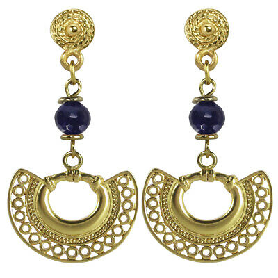 ACROSS THE PUDDLE 24k GP Pre-Columbian Nose Ring with Amethyst Dangle Earrings