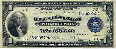 1918 $1 Federal Reserve Bank Note Of Philadelphia ~Reproduction~