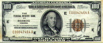 1929 Brown Seal Fed Res Bank Richmond Va $100 Note ~~~Reproduction~~